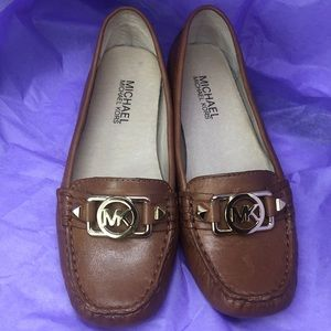 Michael Kors Brown Leather Logo Loafers Sz 5M